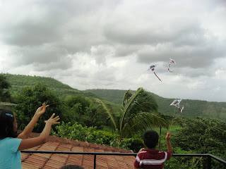 Flying Kites in Mauli Hills