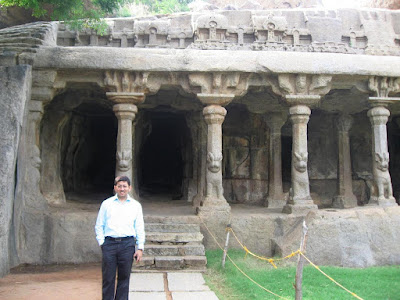 Rock cut hall with pillars at Mahabalipuram