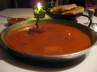 Tomato Soup with scallop and Parma ham at Stax