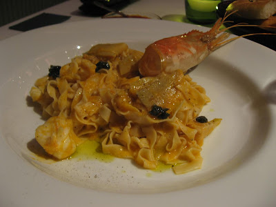 Tagliatelle with scampi at Stax