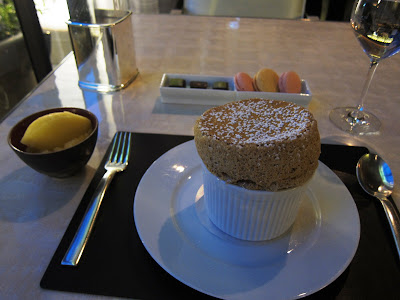 Hazelnut souffle at Adour in DC