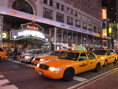 New York cabs at Times Square