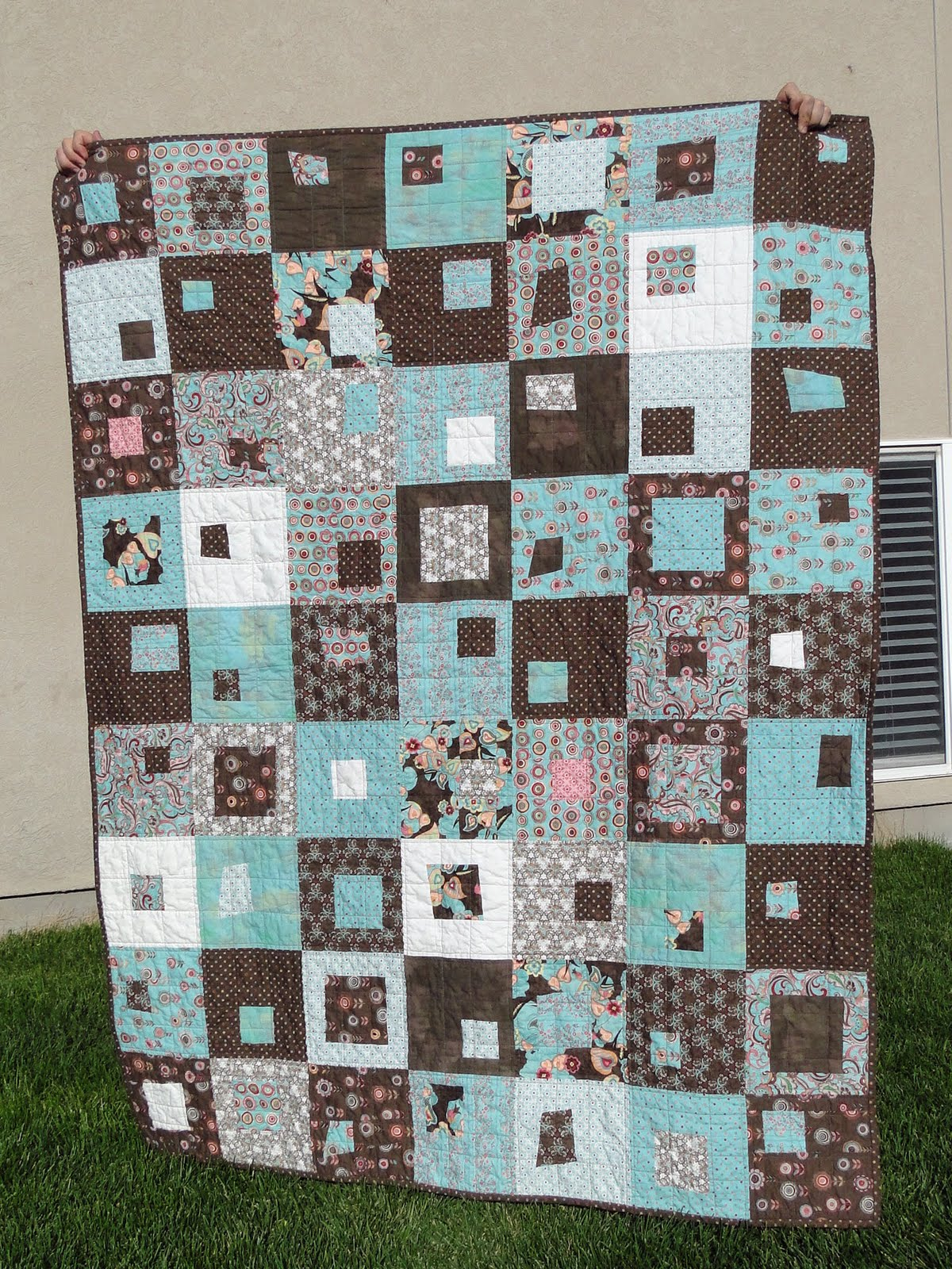 A Bright Corner: Basement Blocks : teal and brown quilt - Adamdwight.com