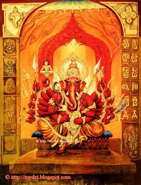 Dancing Twelve Arms Ganesha