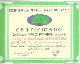 Certificado- Capacitação ministério com crianças e juniores