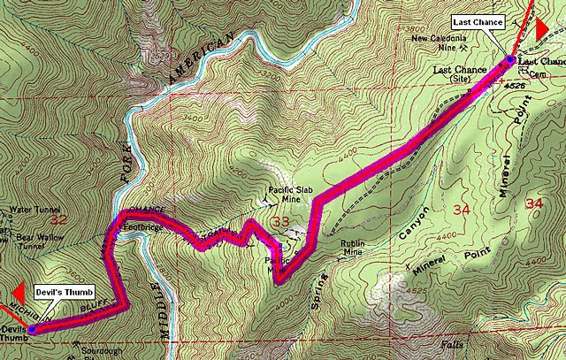 100 Mile Warrior: Last Chance to Devil's Thumb (Miles 43.3 to 47.8 Devils Thumb Trail Map on