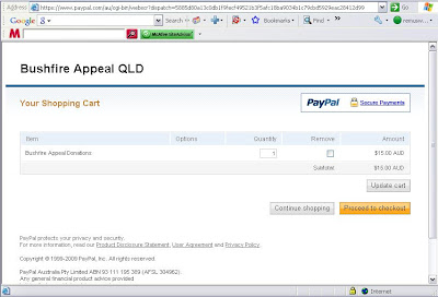 Using Paypal with each donation AUD$15
