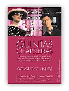 cartaz com dois manequins vestidos a rigor com chapéus