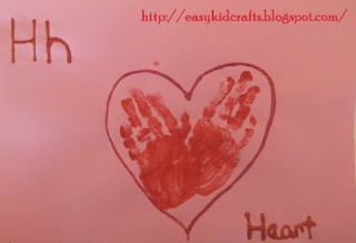 Hand print heart Valentines day Letter H