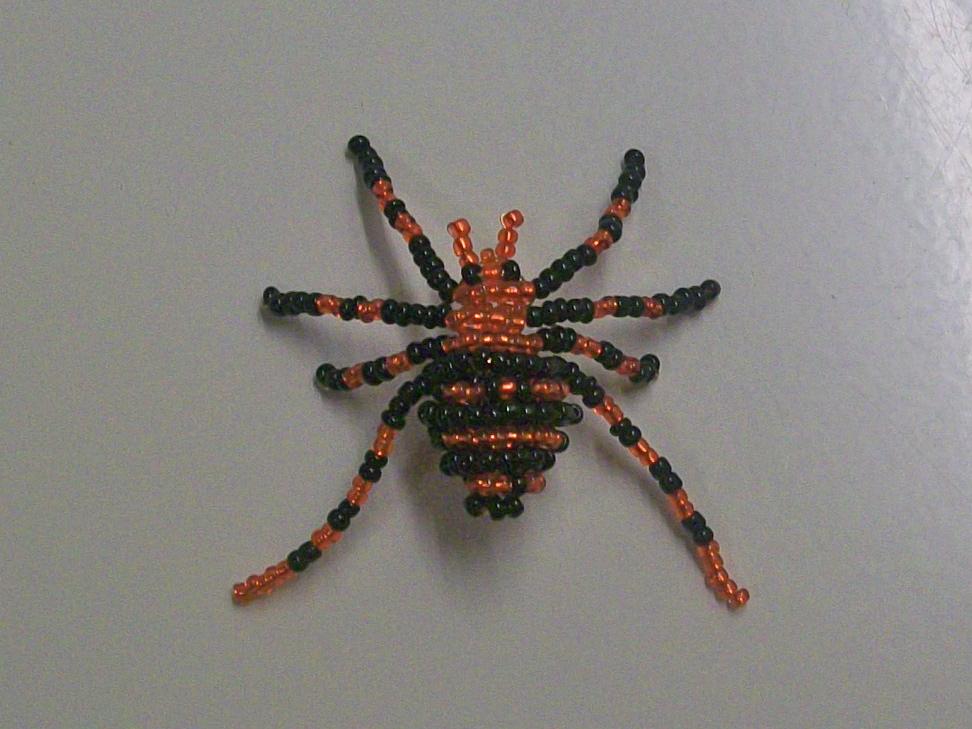 Объемный паук из бисера схема плетения