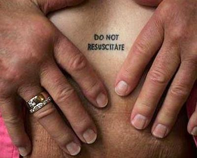 Mary Wohlford's 'Do Not Resuscitate' tattoo