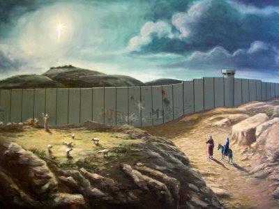 Josef og Maria på vej mod Bethlehem (Banksy)