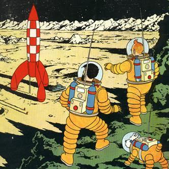 Tintin på månen sammen med Terry og Kaptajn Haddock
