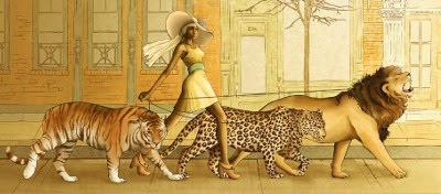 Kvinde lufter muskekatte
