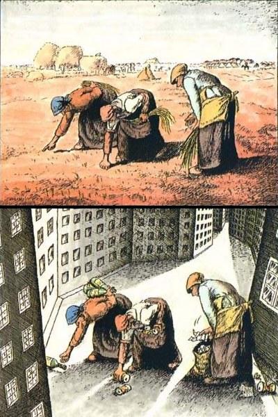 De fattige sanker flasker, moderne karikatur-tegning af Chen Xiu Fen