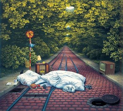 Waiting for a tram by Jacek Yerka