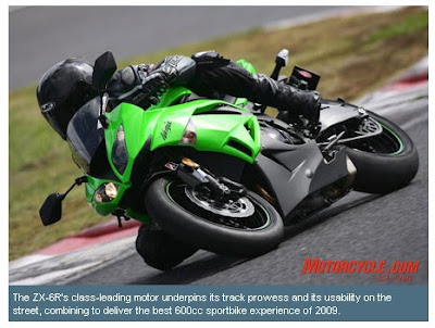 Kawasaki ZX-6R best 2009 car award