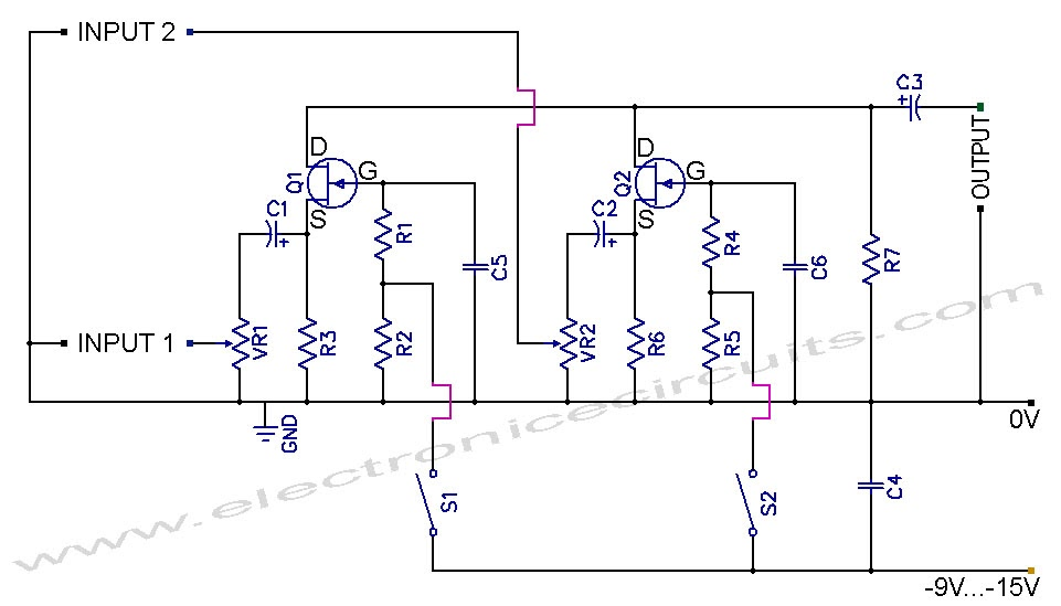 Skema Fet Audio Mixer And Switch Circuit Diagram