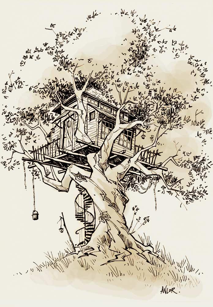Anlor feuille feuille une cabane perch e - Dessin de cabane ...