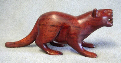 Palo de Sangre carved wood Jaguar from Colombia