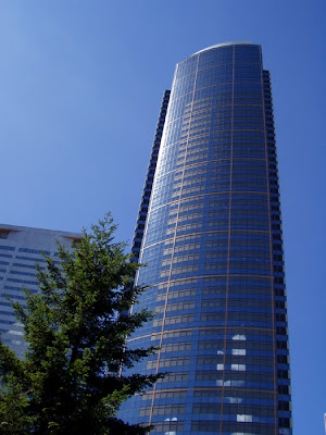 Tall buildings and blue sky in Seattle, Washington
