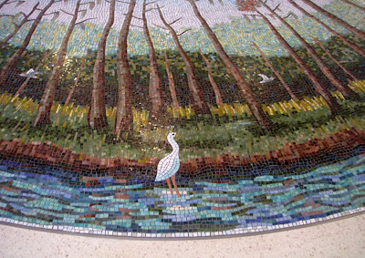 A bird mosaic on the terminal floor at Dallas/Fort Worth International Airport