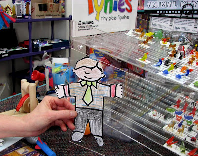 Flat Stanley at Purple Cow Toys, Astoria, Oregon