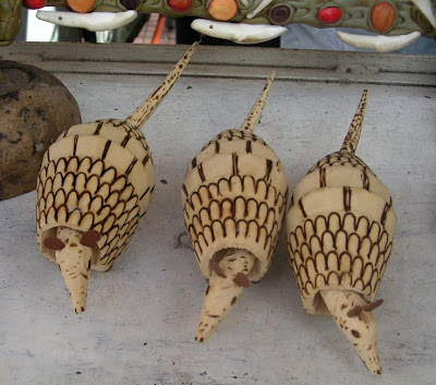 Carved Wood Armadillos in the Marketplace in Manaus, Brazil