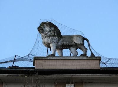 Caged Lion atop Yorkshire Bank Building, Banbury, England