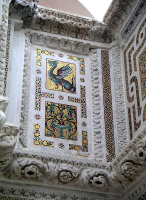 Mosaic animals on a pulpit in Ravello, Italy