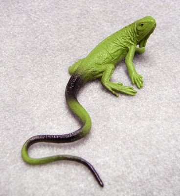 Toy iguana made of plastic