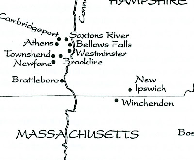 Map showing parts of Vermont and New Hampshire: Saxtons River, Bellows Falls, Westminster, Brookline, New Ipswich, Winchendon, Cambridgeport, Athens, Townshend, Newfane, Brattleboro