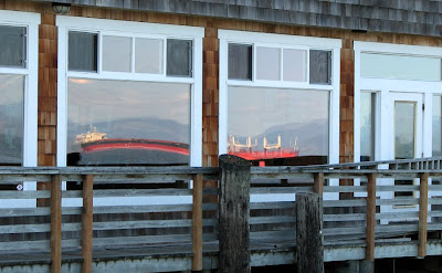 Reflected Ships in the Window of Baked Alaska's Lounge