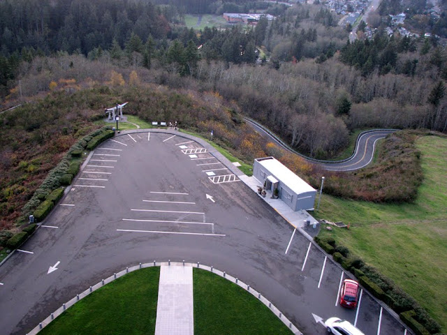Looking down into the parking lot from the Astoria Column