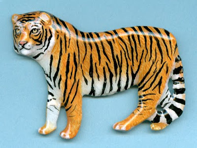 Tiger Hand-made, Hand-painted pin, Made in USA