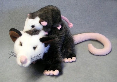 Mother and Baby Stuffed Opossums