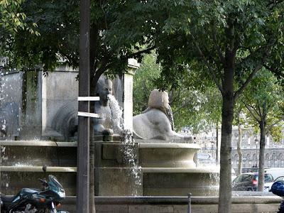 Sphinx Sculptures on the Fountain, Place du Chatelet, Paris