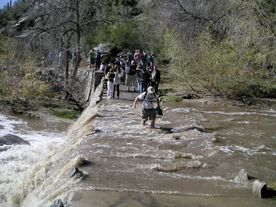 Flooding in Sabino Canyon near Tucson - The Beginning of our Hike