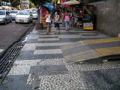 Paving on the sidewalk in central market, Manaus, Brazil