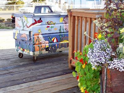 Dumpster at 6th Street Pier painted by Diane Beeston