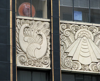 Peacocks on an Art Deco Building