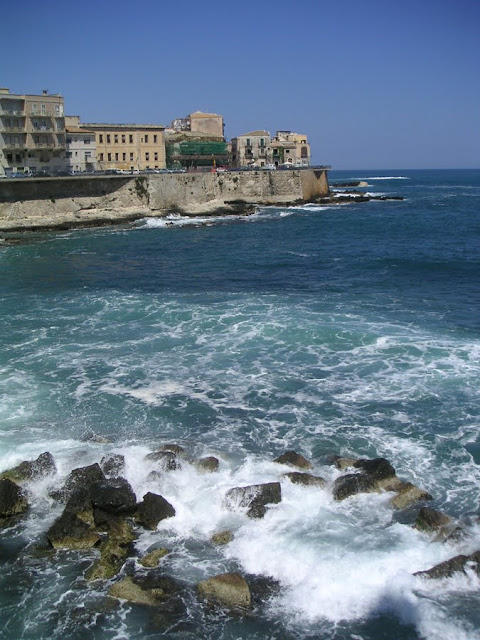 Sea Wall and Blue Water, Syracuse, Sicily, Italy
