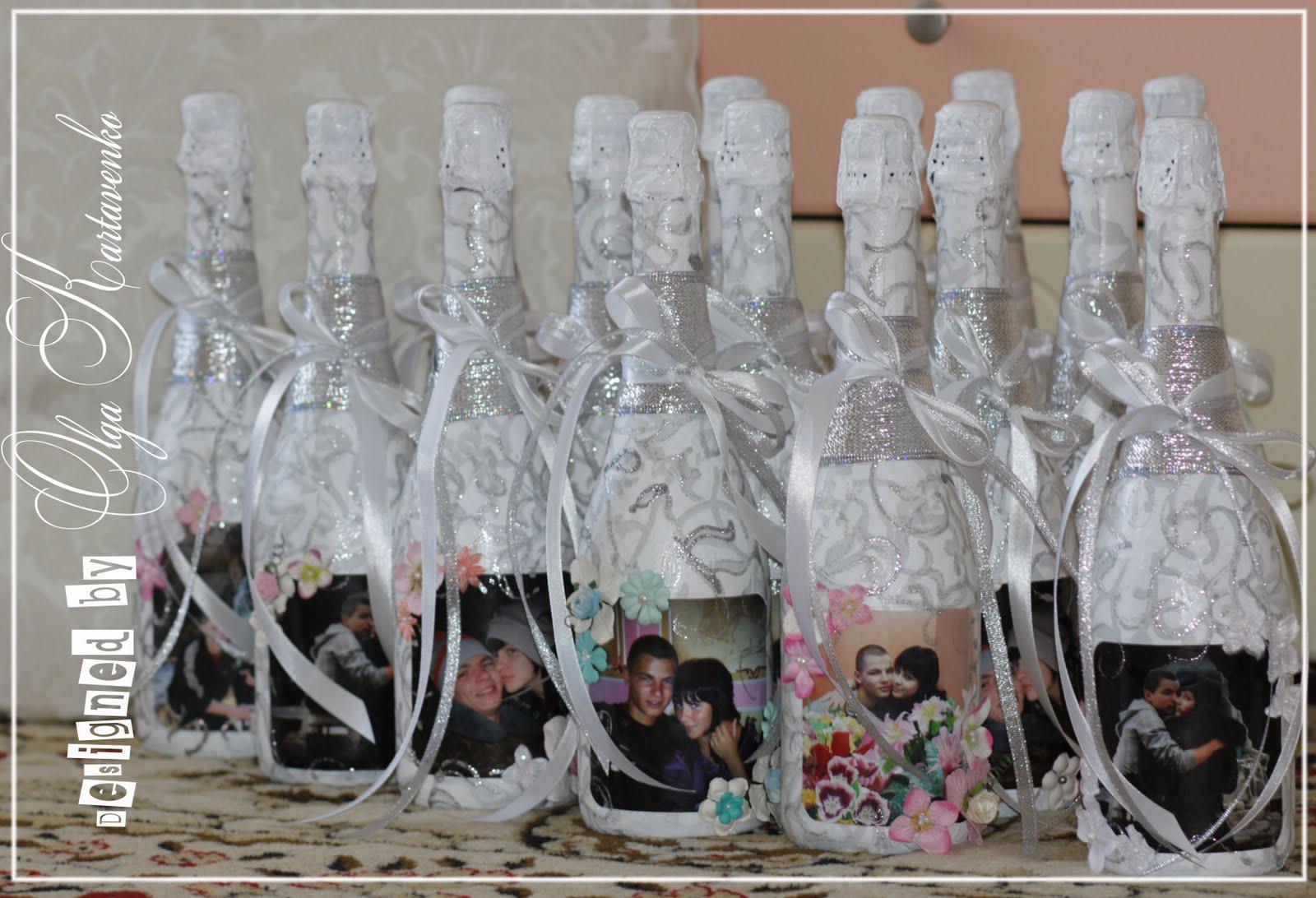 Украшения свадебных бутылок шампанского своими руками