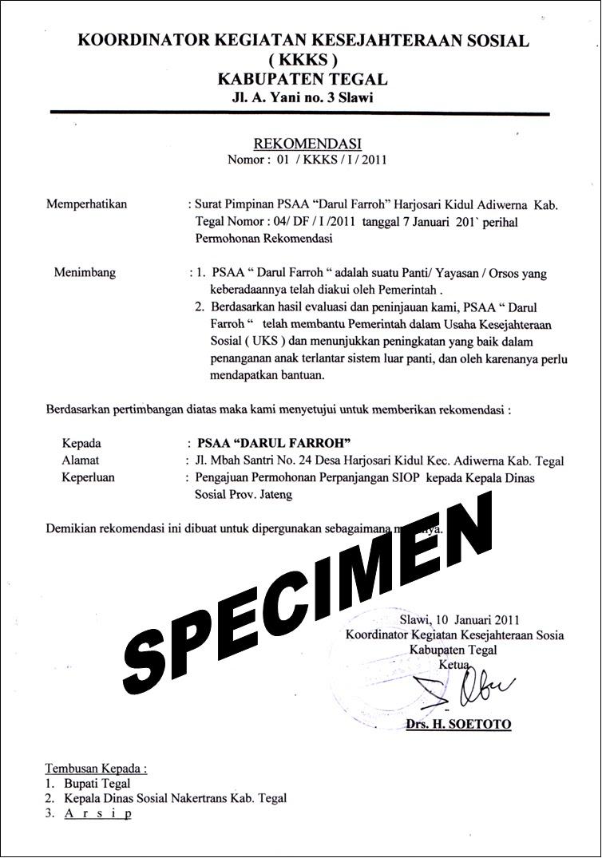 Panti Asuhan Darul Farroh Surat Surat Izin Operasional