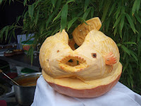 Fish carved from pumpkin
