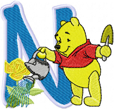 N Alphabet Design pooh alphabet design alphabet cutout