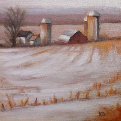 Winter Farm with Barn and Silos