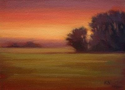 Sunset field oil painting by Kerri Settle