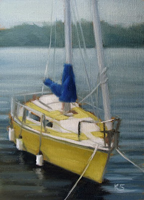 Yellow Sailboat Oil Painting by Kerri Settle