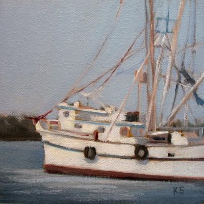 Shrimp Boat Oil Painting by Kerri Settle
